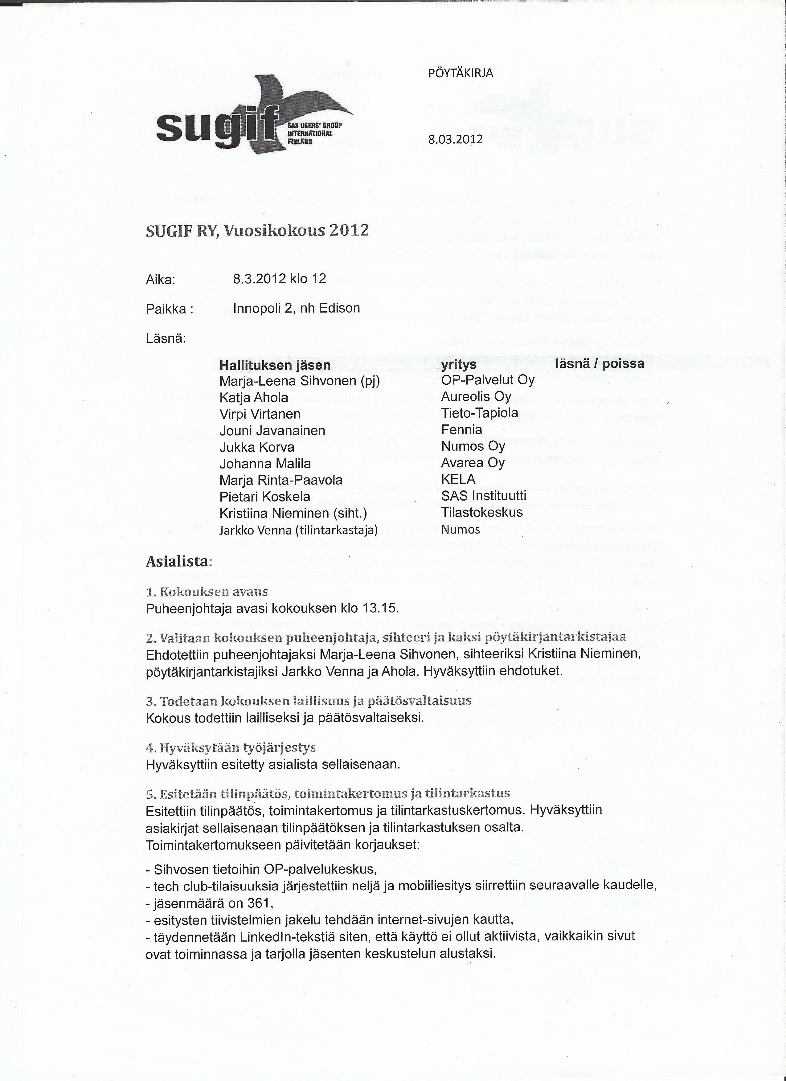 rekisteröidyn yhdistyksen tilintarkastuskertomus